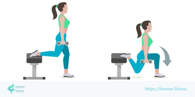 bulgarian squat femme.fitness illustration