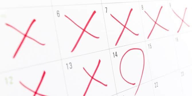calendrier avec des X sur plusieurs jours