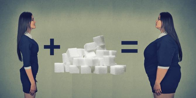 une femme mince plus beaucoup de sucre égale une grosse femme