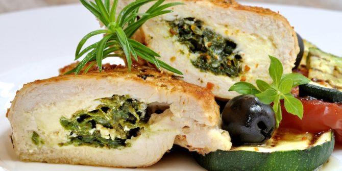 poulet farci au fromage et épinard