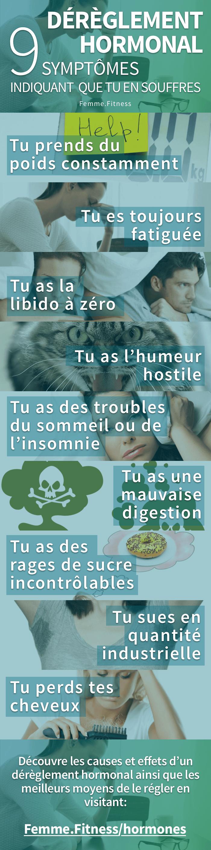 infographie sur les 9 symptômes d'un dérèglement hormonal