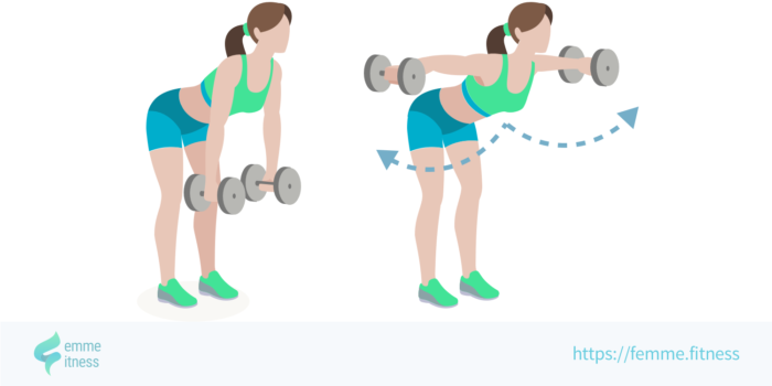 dessin de l'exercice de musculation de l'élévation latérale corps penché
