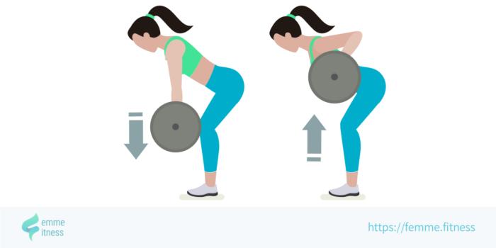dessin de l'exercice de musculation du rowing à la barre