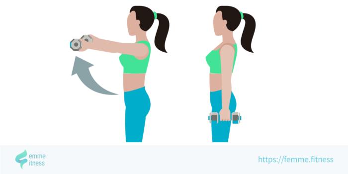dessin de l'exercice de musculation de l'élévation frontale