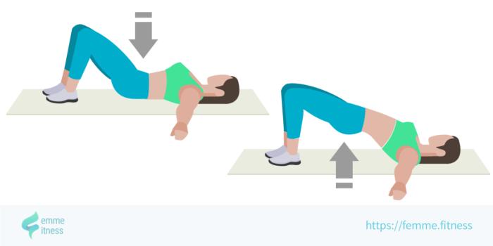 dessin de l'exercice de musculation du hip thrust au sol