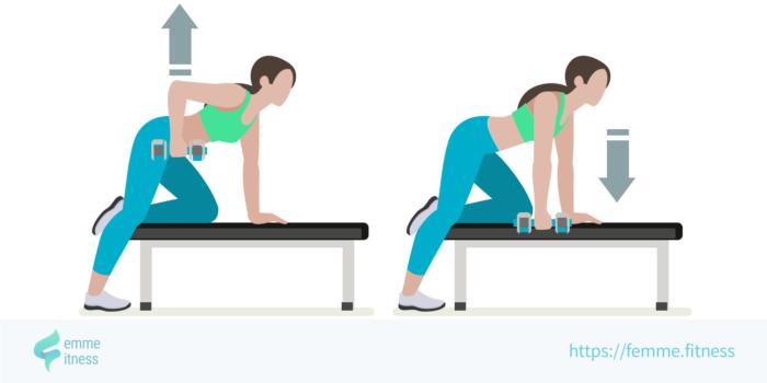 dessin de l'exercice de musculation du rowing à un bras