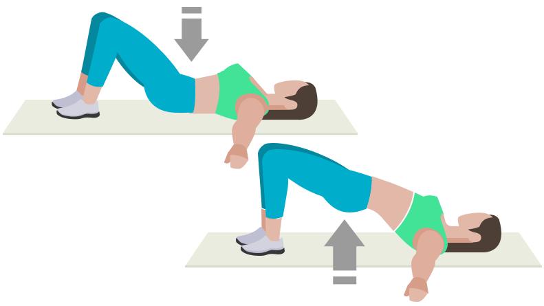 dessin démonstratif de l'exercice de musculation du hip thrust au sol