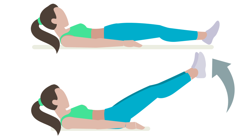 dessin démonstratif de l'exercice de musculation de l'élévation des jambes au sol