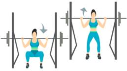 dessin démonstratif de l'exercice de musculation du squat