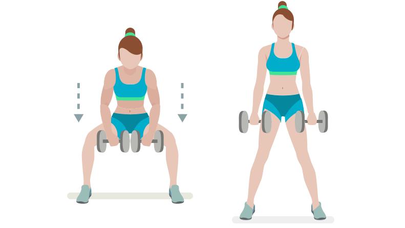dessin démonstratif de l'exercice de musculation du sumo deadlift