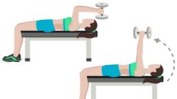 dessin démonstratif de l'exercice de musculation du triceps extension couché