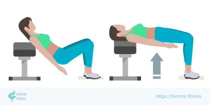dessin de l'exercice de musculation du hip thrust sur banc