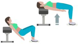 dessin démonstratif de l'exercice de musculation du hip trust sur banc