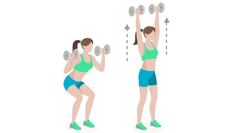 dessin démonstratif de l'exercice de musculation du thruster