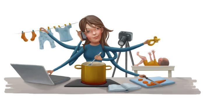 dessin de femme occupée