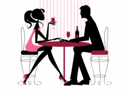dessin d'un souper romantique couple