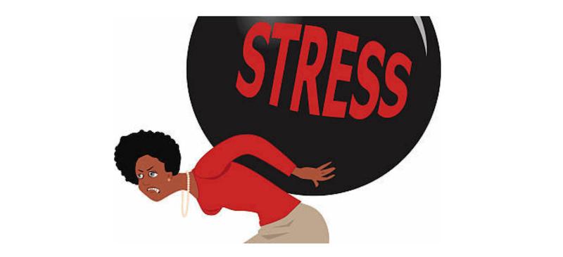 dessin femme qui porte le stress sur ses épaules
