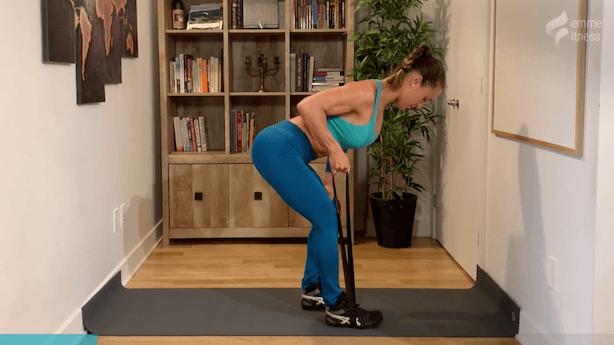 exercice du row à 1 bras avec élastique