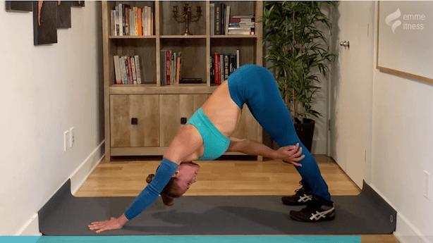 exercice de la position du chien tête en bas à 1 bras