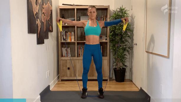 exercice de l'élévation latérale avec élastique