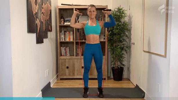 exercice du shoulder press avec élastique