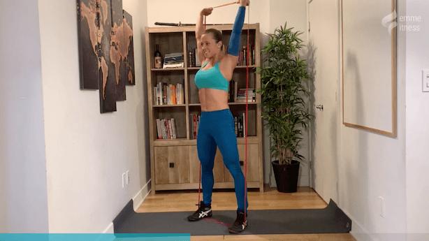 exercice du thruster avec élastique