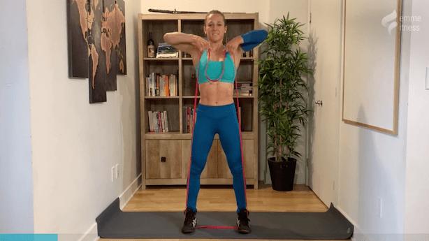 exercice du tirage au menton avec élastique