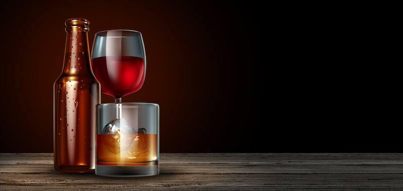 verre vin bière et spirutieux
