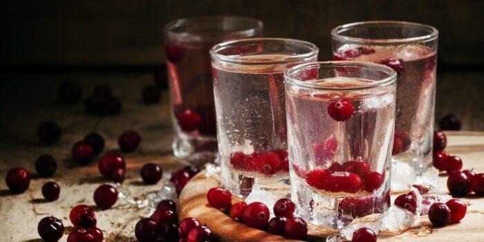 verre d'alcool avec canneberges