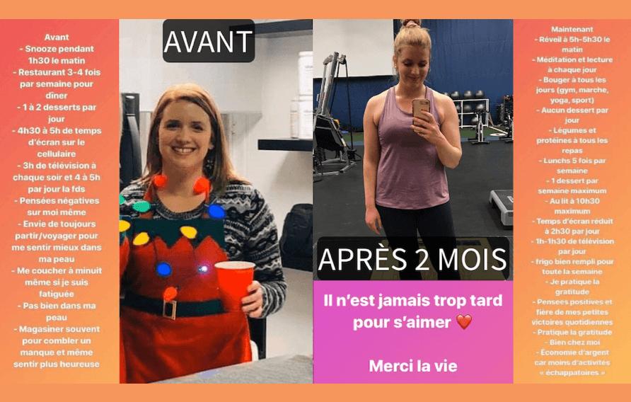 Avant et après une transformation de vie