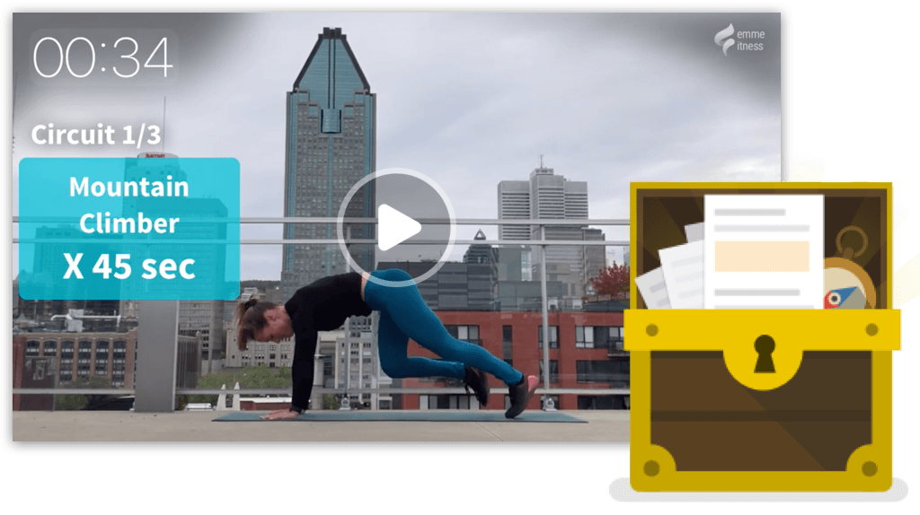 video workout et image de coffre à outils