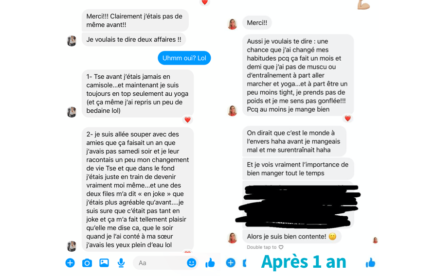 message facebook de caro après 1 an