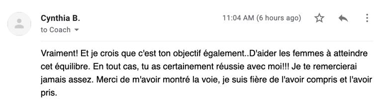 message email de cynthia